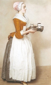 Detail, Chocolate Maid, Jean-Etienne Liotard, 1744-45