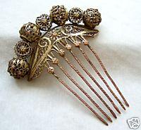 Silver gilt filligree haircomb, early 19th c.