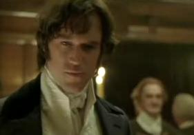 Mr. Darcy (Elliot Cowan) saves Mr. Bingley from embarrassment