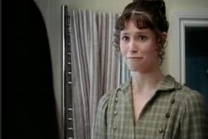Elizabeth Bennet (Gemma Arterton) enters through the shower stall door