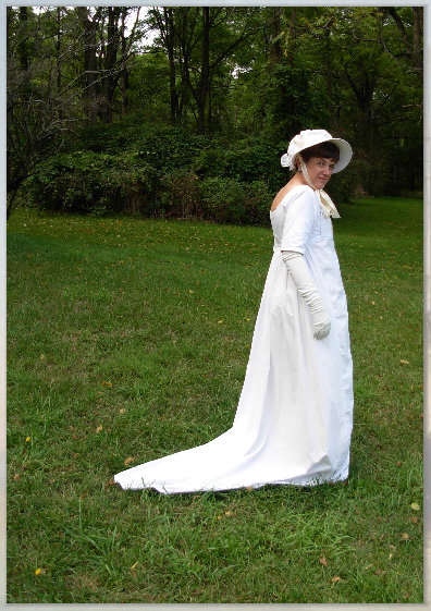Marjorie Gilbert fully dressed in her empire gown