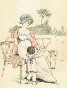 Mother and Child, fashion plate from My Grandmother's Gowns, 1886