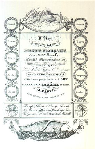 Frontice piece of L'Art De La Cuisine Française Aux XIX-E Siècle by Antonin Careme