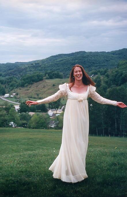 Modern Jane Austen inspired chiffon gown wedding dress