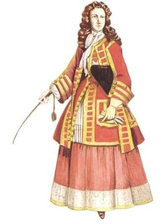 horseback riding outfit. Lady in riding habit, 1720