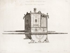 Robert Adam's Design for a Sedan Chair for Queen Charlotte, 1775. Click for a larger image.