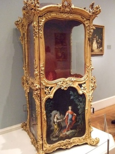 Early 18th c. gilt and wood Sedan chair; painted panels attributed to Charles Antoine Coypel