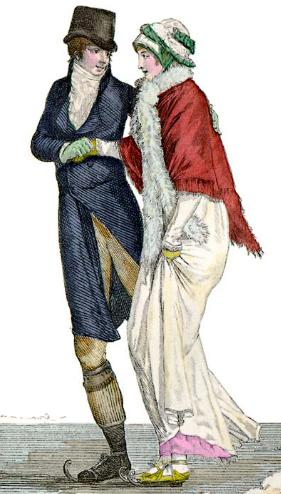 Regency couple skating, c. 1800