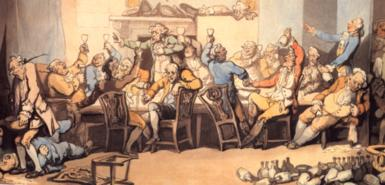 Rowlandson's depiction of a tavern meal