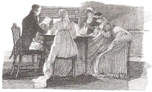 Regency family in the evening