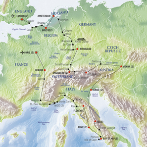 Map of a modern grand tour