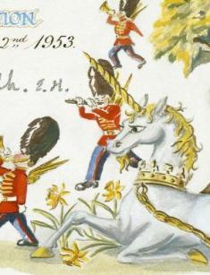 Unicorn detail, Invitation to the royal coronation