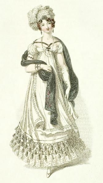 Half mourning evening dress, 1819