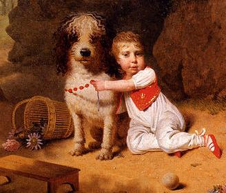Little boy placing a coral necklace on a dog's neck, Martin Drolling