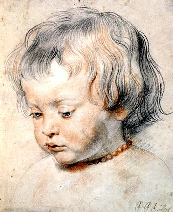 Nicolaas Rubens Wearing a Coral Necklace, Peter Paul Rubens, Red and black chalk heightened with white and some black ink on paper, c. 1619