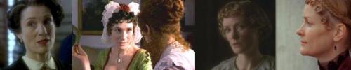 Harriet Walter & Claire Skinner in Poirot (L) & as Fanny Dashwood in Sense & Sensibility (R)