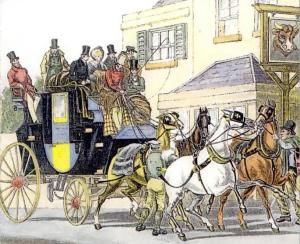 Stage coach travel. Notice the number of passengers laden on the coach and the number of horses.