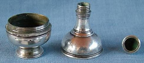 18th c. silver flask-shaped comfit box