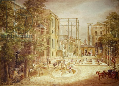 Laying the foundations of the Lycian Room, British Museum, George Scharf, 1845
