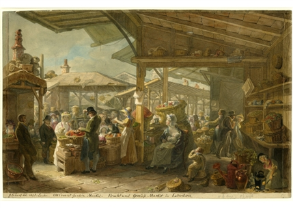 Old Covent Garden Market, 1825, George Scharf