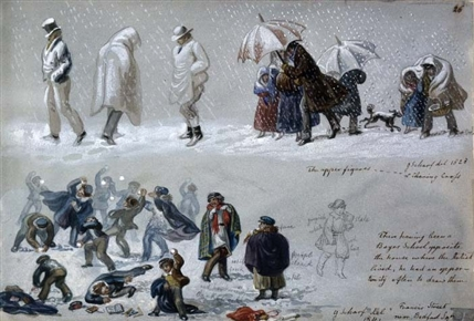 Sketches of people in snow, Scharf, 1820-30, British Museum