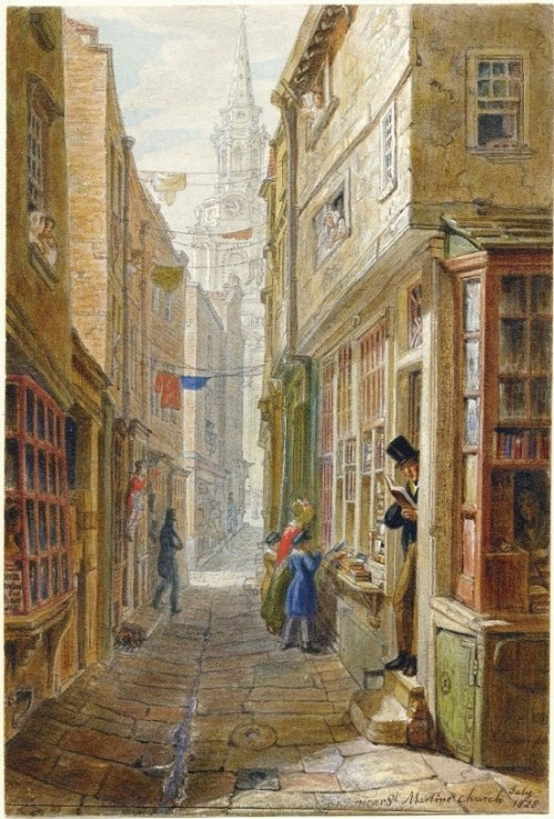 St. Martin's Church Lane, George Scharf, 1828