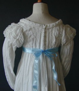 Striped cotton dress, 1810