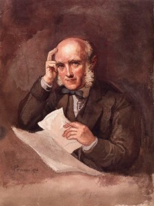 Sir George Scharf, self portrait, watercolor, 1872