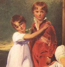 Detail of Fluyder Children, Sir Thomas Lawrence. Skeleton suit with sash