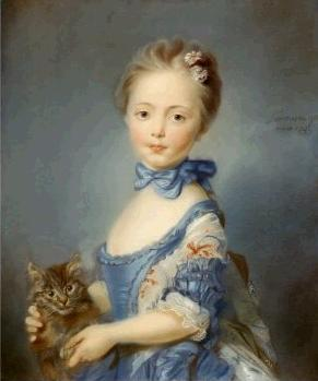 18th c. Girl With a Kitten, Jean-Baptiste Perronneau