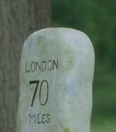 Mile post on the way to London