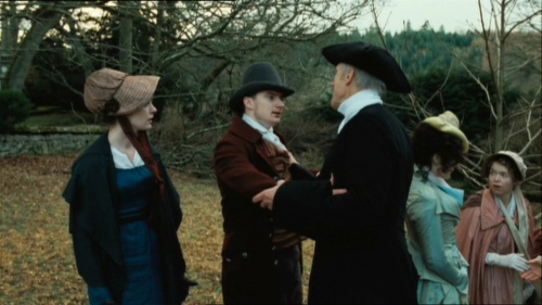 Jane, George, Rev. Austen, Eliza de Feuillide and Cassandra after church service in Becoming Jane.
