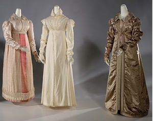 The bronze walking dress is at right