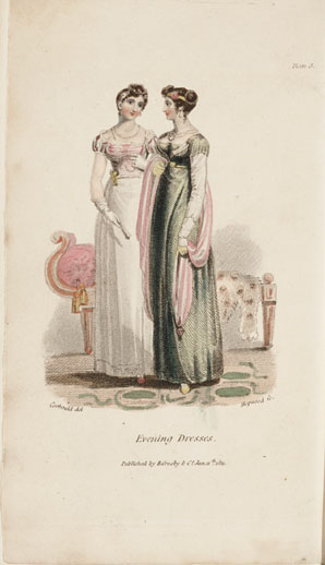 Evening dresses, fronticepiece, The Mirror of Graces,, 1811