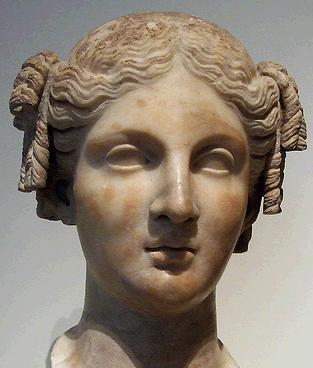 marble head of a woman roman copy of greek statue
