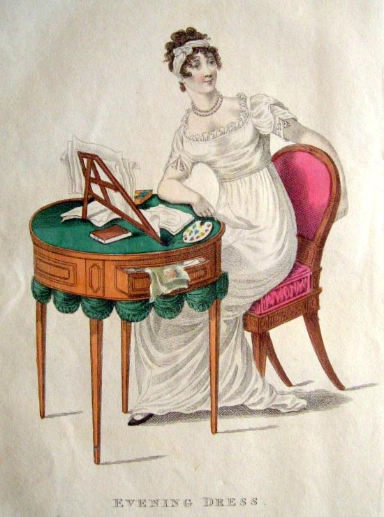 1812 La Belle Assemblee evening dress and bandeau which frames the curls
