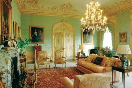 "The drawing room image @Boston Globe. The drawing room was designed by Almina, the 5th Countess of Carnarvon,  in the ""rococo revival"" style ."