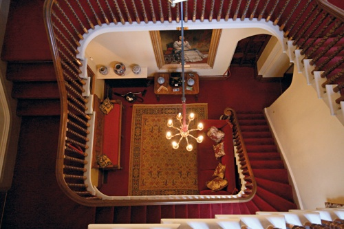 Red stairs birds eye view
