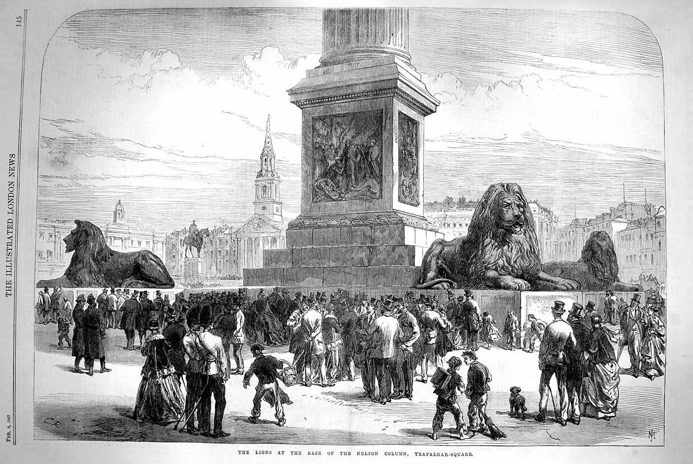 Trafalgar Square Lions Drawing Lions at The Base of Nelson's