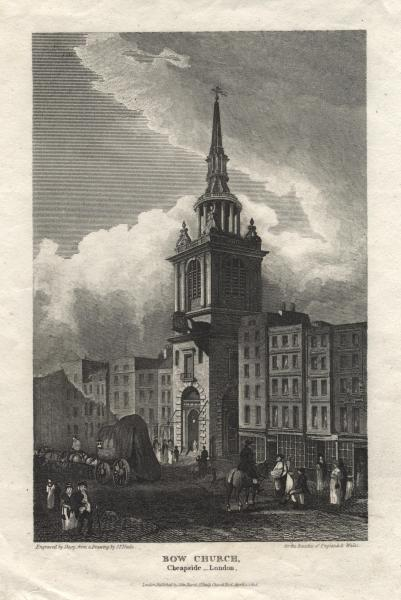 steel engraving of the Bow Church on Cheapside Street in London (the Bow Church is probably better known as Saint Mary's Le Bow and it is said that all true Cockneys were born within the sounds of this church's bells)