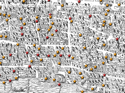 Early modern map of Cheapside. Image @The Map of Early Modern London