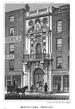 Mercer's Hall, Cheapside. Image @London and Its Environs