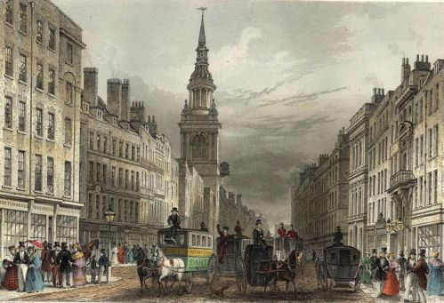 Cheapside and Bow Church engraved by W.Albutt after T.H.Shepherd publ 1837 edited. The pretty steeple is visible in this image. (wikipedia)