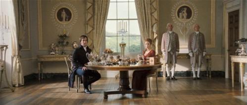 Darcy and Caroline at breakfast