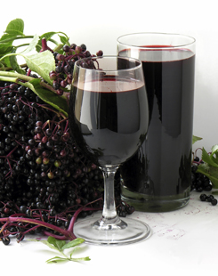 Elderberry wine has a rich red color.