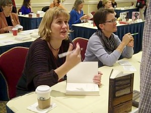 Janine Barchas (l) and Juliette Wells (r) at the Brooklyn JASNA AGM.