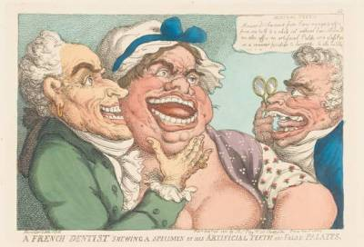 A French Dentist Showing a Specimen of His Artificial Teeth and His False Palates, Thomas Rowlandson, 1811. Image @The Independent