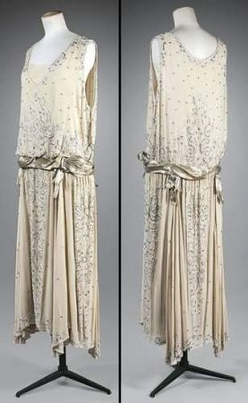 Gabrielle Chanel, Evening Dress in Crepe Georgette with Silver Lamé Sash. France, c. 1923.