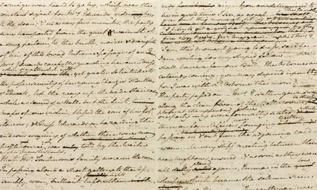 A draft of Jane Austen's novel The Watsons, which was written in about 1804 . Image @The Guardian