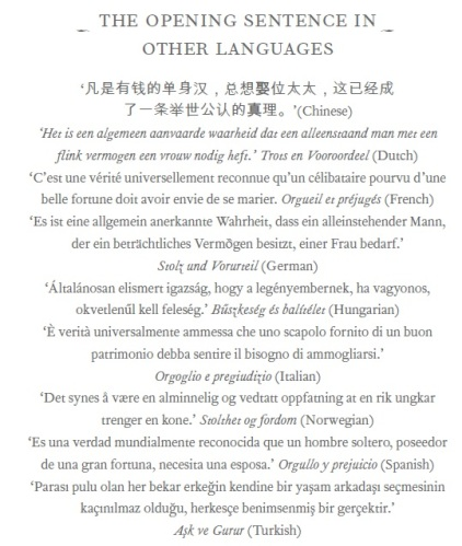 Opening sentence of Pride and Prejudice in different languages. Fullerton discusses its meaning in quite some detail.